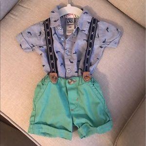 Little Lad Suspender short set